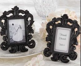 Wholesale Place Card Photo Frames - Wholesale- Free shipping 12*9cm Black and White Resin Baroque Photo Frame Frames Elegant Place Card Holder or Picture Frame 1set