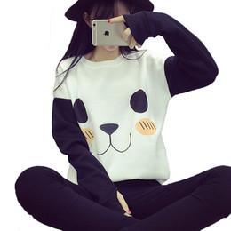Wholesale Pullover Hoodies Panda - New College Wind Women Hoodies Fashion Cartoon Panda Sweatshirts Casual Printed Mixed Color Harajuku Tracksuits Female Sudaderas