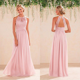 Wholesale Halter Lace Prom Dress Blush - Cheap High Quality Prom Dresses 2016 Blush Pink Lace Top Halter Neck Open Back Sleeveless Long Formal Evening Party Gown Bridesmaid Dress