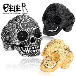 Wholesale Cool Gold Rings For Men - Black Blue Gold Silver Skull Rings Punk Titanium Steel Ring Beier Jewelry For Hip-Hop Cool Men