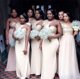 Wholesale Satin Short Straps Bridesmaid Dresses - Sexy Plus Size Junior Country Bridesmaid Dresses Long Champagne Sheath One Shoulder Cheap Bridesmaid Prom Dresses Under 100