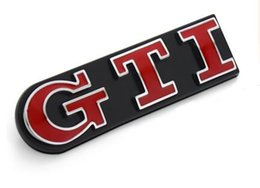 Wholesale Emblem Grille Gti - Volkswagen VW POLO GOLF Chrom Metal GTI Car Tail Emblem Stickers Decoration VW GTI Car Grille Exterior Decals Accessory