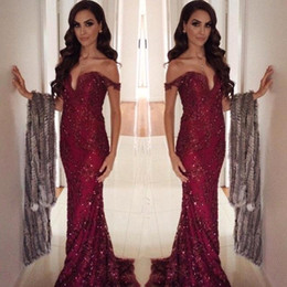 Wholesale T Length Velvet Dress - 2017 New Arabic Off The Shoulder Dark Red Lace Evening Dresses Beaded Mermaid Floor Length Party Prom Dresses Formal Gowns BA3516