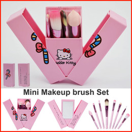 Wholesale mini mirror box - Newest Pink Makeup Brushes Set Hello Kitty 8PCS Professional Mini Makeup Brushes kit kids makeup brushes With mirror Box blush brush