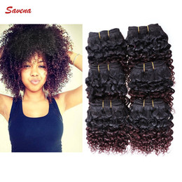 Wholesale Ombre Kinky Curly Human Hair - 6pcs lot Afro Curly 300g Human Hair Extensions Short Size 8 inch 8'' Brazilian Kinky Curly 50g pc Weft 100% Human Hair