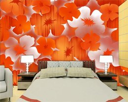 Wholesale Vintage Orange Sofa - 3d room wallpaper custom photo mural Modern elegant orange flower background TV sofa bedding room bar Hote lliving room mural wallpaper
