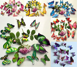 Wholesale Televisions Sets - 12 pcs set DIY 3D Butterfly wall stickers home decor for living room,bedroom,kitchen,toilet,and Festive wedding decoration