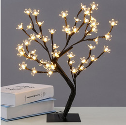Albero bianco fiore di fiori online-Nuovo 48 leds Cherry Blossom Desk Top Bonsai Tree Light bianco 0,45 M Black Branches Festival Home Party Wedding Indoor Decoration