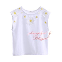 Wholesale Lovly Girl - Pettigirl 2016 New Summer 100% Cotton Girls T-shirts Lovly Flower Decoration White Tops Summer Baby Girls Sleeveless Clothes DMGT90130-574F