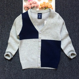 Wholesale Cardigan Sweater Outerwear Children - Baby Boys Cardigan Kids Sweaters Knits Tops Children Clothing Autumn Winter Jacket V-Neck Cardigans Outerwear Knitwear Coat Contrast Color
