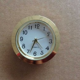 Wholesale Wholesale Clock Inserts - 37mm cheap and gold quality ni clock gold metal fit up clock insert clock arbic numerals mini insert clock