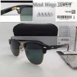 Wholesale Mirror Coating Glasses - AAAA+ quality Glass lens 51MM Brand Designer Fashion Men Women Plank frame Coating Sunglasses Sport Vintage Sun glasses With box