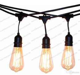 Wholesale vintage light string - NEW Vintage Edision Outdoor Commercial String Lights with Nostalgic Edison Bulbs - 48 Feet String Light with 15 Heavy Duty Molded MYY