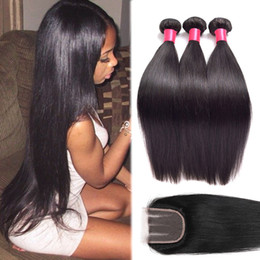 Wholesale Machined Parts - Peruvian Silk Straight With Lace Closure Free Middle Or 3 Ways Part 100% Unprocessed Brazilian Peruvian Straight Virgin Human Hair Weave