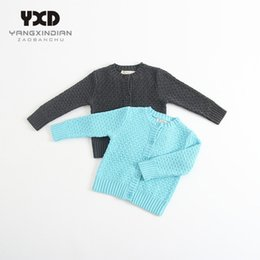 Wholesale infant girl cardigans - Wholesale- 2017 New Spring Autumn Baby Girls Sweaters Solid Color Knitted Sweater Infant Kids Girl Cardigan Toddler Full Outwear 0-2y