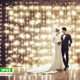 Wholesale Outdoor Decoration Lights Trees - Outdoor led christmas lights LED lights 3*1M 3*3M 6*3M 6*4M 10*3M Curtain Lights Christmas ornament Flash Colored Fairy wedding Decoration
