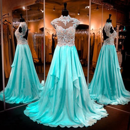 Wholesale Light Blue Collared Chiffon Dress - Glamorous High Neck Chiffon A Line Prom Dresses Elegant Lace Appliques Cap Sleeves Sheer Formal Crystals Evening Pageant Gowns