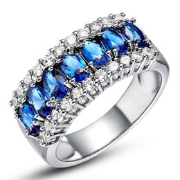Wholesale 14kt Gold Sapphire Rings - Women Men Sapphire White Gold Filled Ring Lady's 14KT Finger Rings 2015 Summer Fashion Jewelry Size 6 7 8 9
