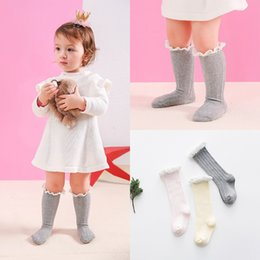 Wholesale Girls Candy Stockings - Everweekend Girls Baby Knitted Candy Color Stocking Lace Sweet Children Cotton Autumn Winter Stocking