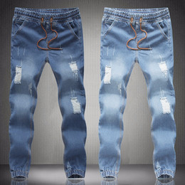 Wholesale Mens New Stylish Jeans - New mens Stylish ripped Jogger Jeans Skinny biker jeans perfumes original Plus size S M L XXL XXXL 4XL 5XL elastic jeans