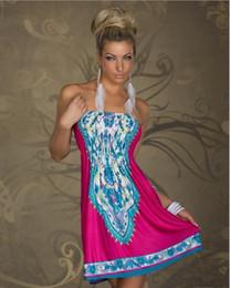 Wholesale Tassels Off Shoulder Dress - New Fashion Sexy Women Strapless Vintage Pattern Printed Casual Summer Dress Off Shoulder Beach Dress