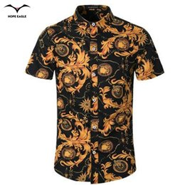 Wholesale Korean Men Fashion Shirt Casual - Wholesale-New Hot 2016 summer dress shirt men high-grade Korean cotton printed short-sleeved men's fashion Chinese style shirt collar