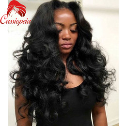 Wholesale Pruvian Virgin Hair - Pruvian Human Virgin Hair Full Lace Wigs For Black Women Glueless Fashion Lace Front Wigs Middle Part Unprocessed Full Lace Human Hair Wig