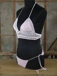 Wholesale Exclusive Bikini - Exclusive Bilayer Handmade Scalloped Crochet Bikini Crop Top Festival Top Women sexy bikini set
