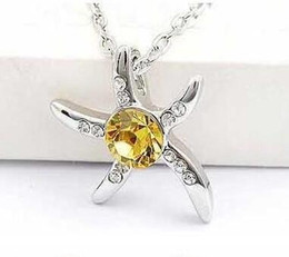 Wholesale Star Fish Silver - 925 Silver Sea Star Necklace Fashion Exquisite Crystal Jewelry Star Fish Pendant Necklace Star Fish Necklace Crystal Jewelry DHL