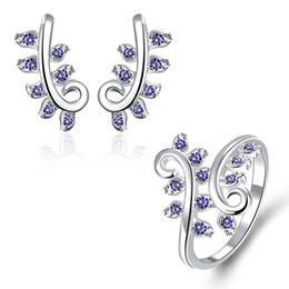 Wholesale Asian Women Wedding Gemstone Rings - Best gift fashion plant 925 silver earring ring jewelry sets; brand new sterling silver blue gemstone set fit women wedding GTFS059A