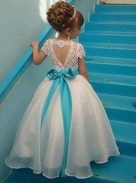 Wholesale Short White Organza Dresses - Flower Girl Dresses With Organza Lace Floor-length Ball Gown Sash Beads Bow Lovely Pageant Flower Girl Dresses #DL80027