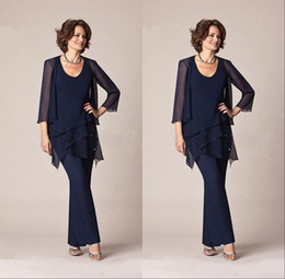 Wholesale Chiffon Pants Beach - 2018 Chiffon Mother Of the Bride Pant Suits with Jacket Long Sleeves Formal Plus Size Beach Evening Party Gowns