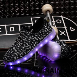 Wholesale Trend Shoes Wholesale - Light Up Shoes Children Sports Students Leisure Running Male Sneakers Trend Knitting Breathable Colorful Flashing Shoes