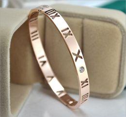 Wholesale Roman Gold Bracelet - New 18K rose gold hollow Roman digital single drill bracelet female Korean version of the fashion couple bracelet gold