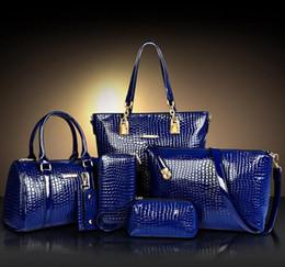 Wholesale composite stone - 6pcs Sets Bags Crocodile Pattern Women Bag Stone Women Handbag Pu Leather Shoulder Bag Women Messenger Bags Lady Day Clutch Tote Bolsas