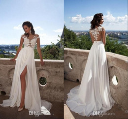 thigh high slit gowns Canada - Elegant A-Line Chiffon Beach Wedding Dresses 2016 Sheer Neck Lace Appliques Cap Sleeves Thigh-High Slits Bridal Gowns Custom Made Sexy Back