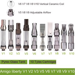 Wholesale Vertical Steel - Amigo liberty V1-V10 Vertical Ceramic coils Pyrex Stainless steel Cartridges Bud Touch Vaporizer 510 O pen atomizer Wax thick Oil Vapor tank