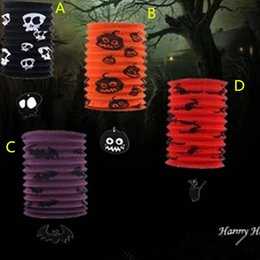 Wholesale Halloween Decoration Lantern - 50pcs Halloween Telescopic straight pipe organ lamp 4 color bat witch design paper lantern