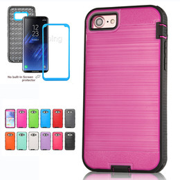 Wholesale K7 Phone - Hybrid Brushed Dual Layered Shockproof Armor Phone Case With Screen Film For HTC Desire 626 530 630 650 Googel Pixel LG G5 G6 V20 V30 K7 K8