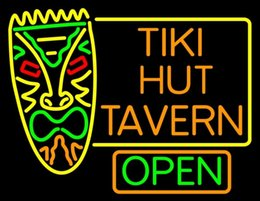 "Wholesale Tiki Bar Open Signs - Tiki Hut Tavern Bar Open Neon Sign Custom Handcrafted Real Glass Tube Advertising Club PUB Beer Bar Display KTV Neon Signs 24""X24"""