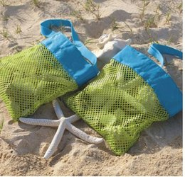 Wholesale Beach Clothes For Kids - New Children Kids 24*24cm Sand Bags Beach Bag Mesh Tote Organizer Toy Treasures Bags for Sea Shell Storage Bags Mommy's Helper