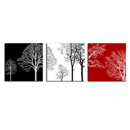 Wholesale Red Tree Wall Art - 3 Pieces Canvas Wall Art Painting Black White and Red Tree Picture Print on Canvas with Wooden Framed Home Living Room Decor Ready to Hang