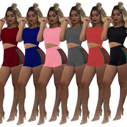 Wholesale Girls Short Sleeve Tees - Fashion Sport Suits Women's Crop Top Sweatshirt+Shorts Two Piece Set Panelled Stripe Tracksuits Girl Clothings Active T shirts Tees 6 Colors
