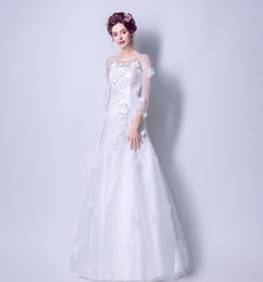 Wholesale Silk Embroidered Pictures - Ready To Be Sent Handmade Flower Long Sleeves Wedding Dresses TY1851