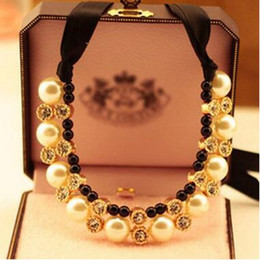 Wholesale Chunky Double Necklace - Pearl Necklace Pendant Statement Ribbon Pearl Necklace Double Row Chunky Diamante Choker Pearl Beaded Pendants Necklaces