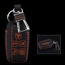 Automobile a catena chiave a distanza online-Brand New di alta qualità del cuoio genuino telecomando catena chiave dell'automobile e portachiavi portafoglio copertura del sacchetto per Jaguar XF