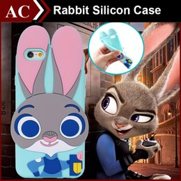 Wholesale Character Cases Iphone Silicone - 3D Cartoon Zootopia Judy Rabbit Soft Silicon Case For iPhone 4 4s 5 5S SE 6 6S Plus Character Cute Rubber Capa Cover Back Skin