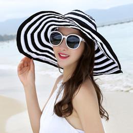 Wholesale Strip Wide - Summer uv folding beach hat cotton sun floppy cap strip caps for women 6 colors free shipping