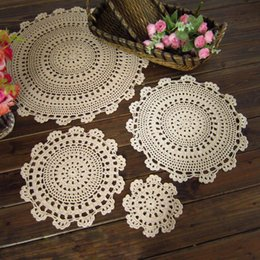 Wholesale 15 Crochet Doilies - Wholesale- 15-45cm Retro Pastoral Flower Placemat Table Mat Handmade Cotton Round Doily Insulation Cup Pads Doilies Crochet Lace Coaster