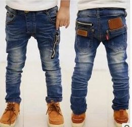 Wholesale Boys Elastic Waist Jeans - The new children in the spring and autumn jeans retail - 2016 joker boys jeans pants zipper